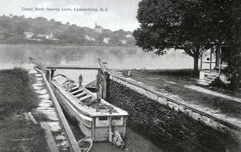 canal boat leaving lock
